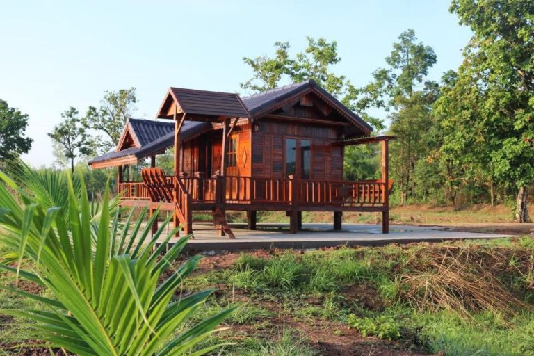 Wooden bungalows with bathroom