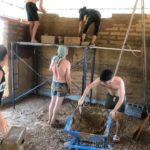 Maçonnage de la brique adobe